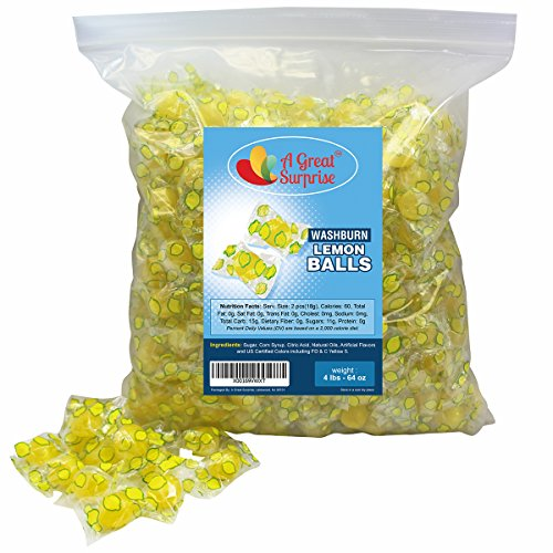 Lemon Sour Candy (Sour Lemon Drops Hard Candy - Washburns Old Fashioned Candy - Individually Wrapped - Bulk Candy, 4 LB Party Bag, Family Size)