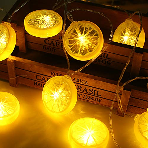 DINGFU Novelty Lemon Fairy String Lights,13ft/4m with 20 LED Battery Operated Twinkle Starry String Lights for Wedding Christmas Festvial,Party,Garden Decoration