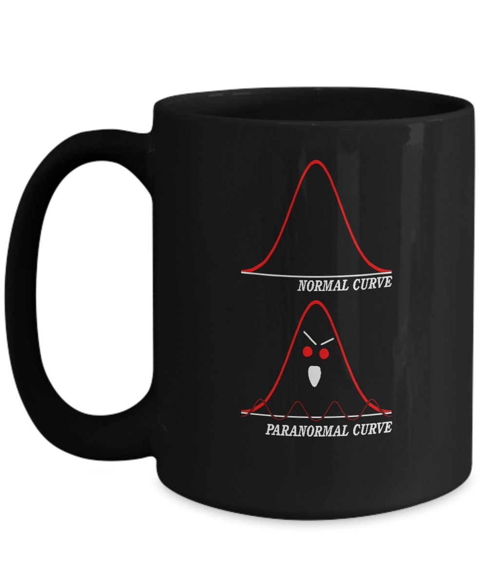 Funny Math Teacher Gifts Statistics Related Halloween Paranormal Curve Coffee Mug
