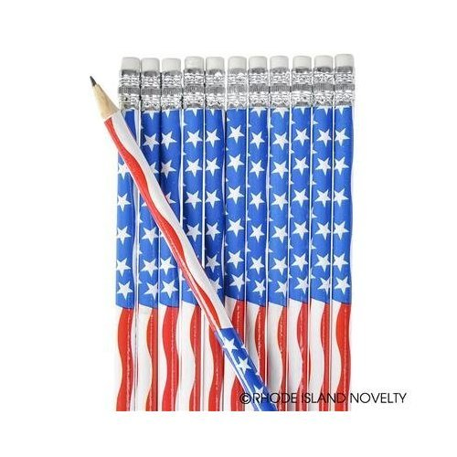 - 2 DOZEN (24) USA Patriotic PENCILS Stars & Stripes Design - 4th of July PARADES or PARTY FAVORS - US FLAG