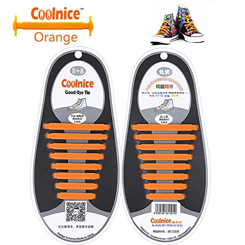 Coolnice No Tie Shoelaces for Adults DIY 16pcs - Environmentally safe silicone - Lazy Shoestrings - Color of - Print Cheetah Vans