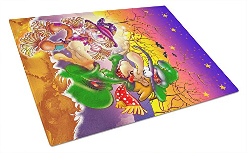 Caroline's Treasures Witch Voodoo Scarecrow Halloween Glass Cutting Board, Large, Multicolor (Cutting Voodoo Board)