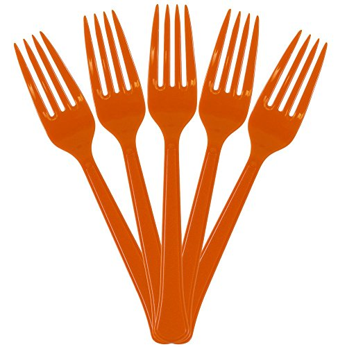 JAM Paper Premium Utensils Party Pack - Plastic Forks - Orange - 48 Disposable (Orange Dinner Fork)