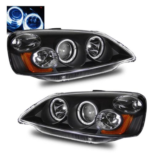 SPPC Projector Headlights Black Assembly Set Halo For Honda Civic - (Pair) Driver Left and Passenger Right Side Replacement Headlamp