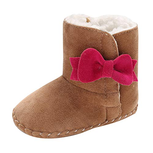 Weiyun Weiyun Baby Girl Soft Booties Bow Pure Color High Gang Snow Boots Toddler Warm Shoes Khaki
