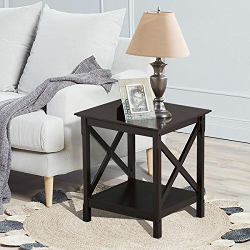 Topeakmart X Design Wood Coffee Side End Table with Storage Shelf for Living Room (Espresso, Rustic) - Oak 3 Drawer Console