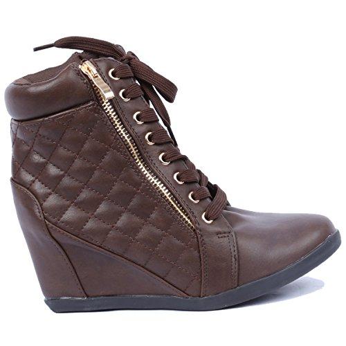Coshare Toujours Lien Womens Fashion Gladys-25 En Cuir Pu Lacets Up Cheville Matelassé Haute Sneakers Marron