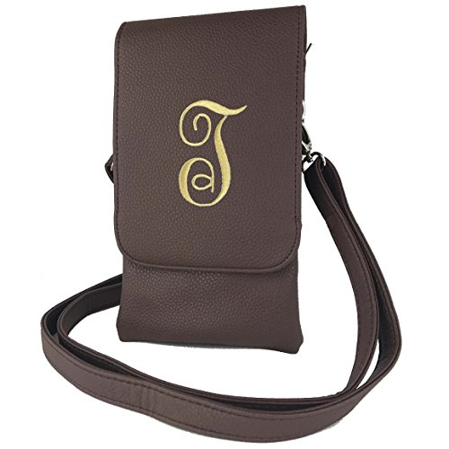 The Hudson Crossbody Bag w/Embroidered Initial T -RFID pockets-Fits All Phones-Brown