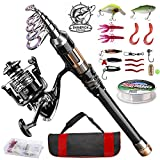 3. ShinePick Fishing Rod Kit, Telescopic Fishing Pole and Reel Combo Full Kit with Line Lures Hooks Carrier Bag for Travel Saltwater Freshwater Boat Fishing Beginners