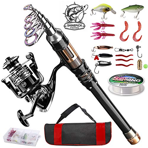 ShinePick Fishing Rod Kit, Telescopic Fishing Pole and Reel Combo Full Kit with Line Lures Hooks Carrier Bag for Travel Saltwater Freshwater Boat Fishing Beginners in USA