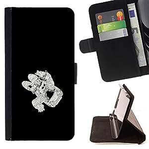 KingStore / Leather Etui en cuir / Apple Iphone 5C / Espacio Astronauta Kosmonaut