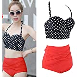Summer Retro Rockabilly Polka Dot Swimsuit Bikini Female Swimwear Suit Set