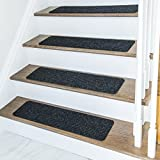 Non Slip Carpet Stair Treads + Double sided tape - Set of 13 Premium non skid indoor treads for wood stairs (30 inch X 8 inch) (Charcoal)
