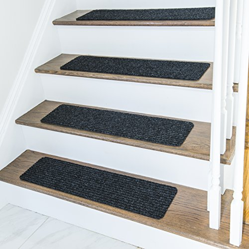 Tiles Carpet Set (Non Slip Carpet Stair Treads + Double sided tape - Set of 13 Premium non skid indoor treads for wood stairs (30 inch X 8 inch) (Charcoal))