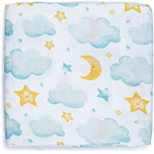 Muslin Swaddle Blankets (Moon & Stars Design 47x47) for Newborn, Gender Neutral, Large Bamboo/Cotton - Receiving Blanket, Swaddling Wrap, Sleepsack, Carseat Cover by adaline - Ideal Baby Shower Gift