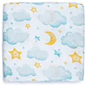 Silky Soft Muslin Swaddle Blanket (Moon & Stars Design 47x47) for Newborn, Unisex, Large Bamboo/Cotton - Receiving Blanket, Swaddling Wrap, Sleepsack, Carseat Cover by adaline - Ideal Baby Shower Gift
