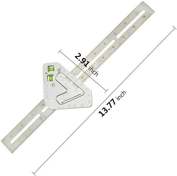 ELENXS Level Winkel Lineal Aluminium-Legierung Zimmerei Utensil Multifunktions Aangle Platz Multi-Winkel Messwerkzeug