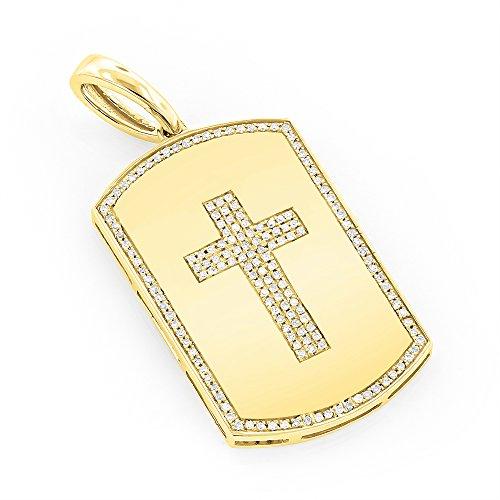 Luxurman Unique 14k White Natural 0.35 Ctw Diamonds Cross Dog Tag Pendant (Yellow (Yellow Gold Diamond Heart Tag)