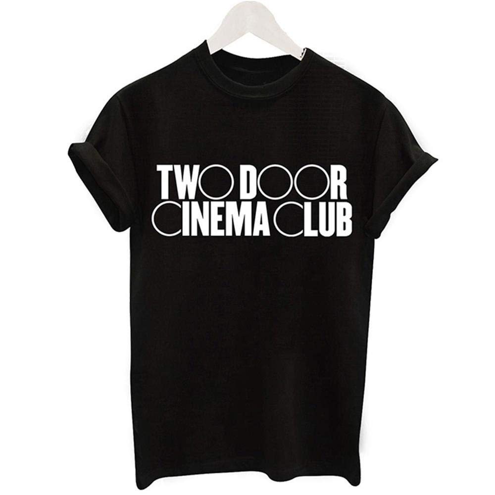 Many Funny Fashion Men Two Door Cinema Club Art Letter Print Short Sleeve Printing Short Sleeve Short Tops Casual Color Black,  Size S Shirts