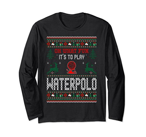 Unisex What Fun To Underline Waterpolo Christmas Ugly Sweater Tshirt XL: Black
