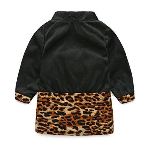 IGEMY Kinder Baby Mädchen Rollkragen Langarm Leopard Bowknot Kleid Schwarz