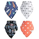 Happy bébé Baby Bandana Drool Bibs (4-Pack) Absorbent Organic Cotton Bibs for Boys and Girls, Colorful Unisex Designs, Ultra Soft & Adjustable, 3 months+