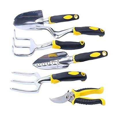 Yardsky 6 Piece Gardening Tools Set Including Trowel Transplanter Cultivator Secateurs Weeder Fork