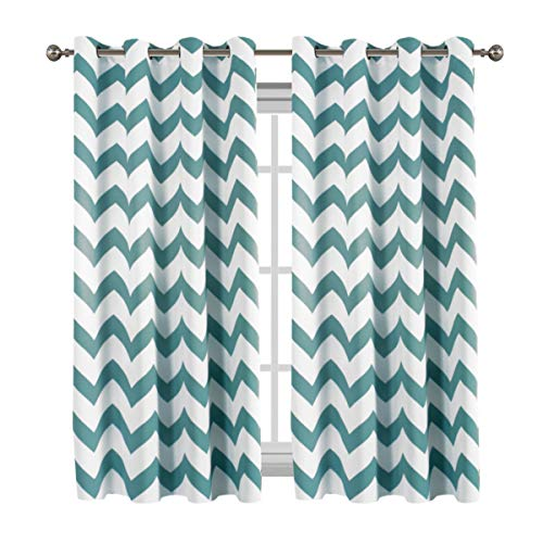 Flamingo P Blackout Energy Efficient Chevron Thermal Insulated Drapes Printed Window Curtains for Living Room, Grommet Top, Teal 2 Panels, W52 x L63 -inch