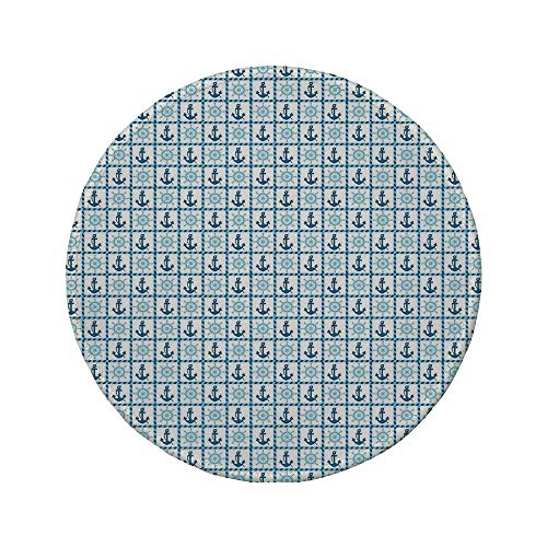 Non-Slip Rubber Round Mouse Pad,Underwater,Sea Ship Theme Deck Helm Anchor with Squares Made by Ropes,Sky Blue Navy Blue and White,11.8