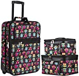 World Traveler Colorful Black Owls 3 Piece Carry On Rolling Luggage Set 20-inch
