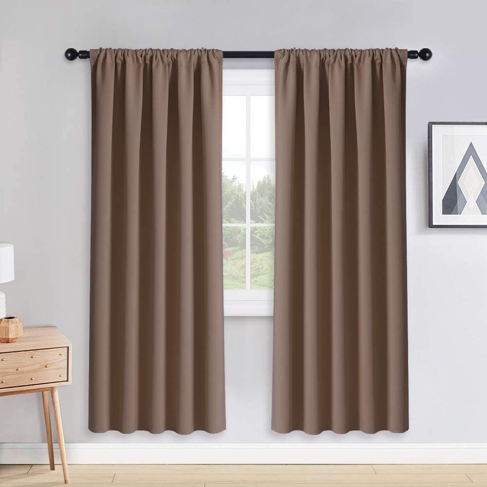 PONY DANCE Light Blocking Panels - Blackout Window Curtain Room Darkening Rod Pocket Thermal Insulated Curtains Energy Saving for Living Room/Draperies, 52 Wide x 72 Long, Mocha, 2 Pieces