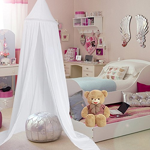 Samyoung Kids Bed Canopy Mosquito Net Witch Hat Style Round Dome Bed Canopy Screen Mantle Bed Curtain Tent Cotton Cloth Hanging Mosquito Net for Cotton Canvas(White)