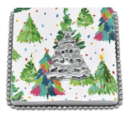 Mariposa Beaded Napkin Box with Christmas Tree Weight - Cocktail Napkins