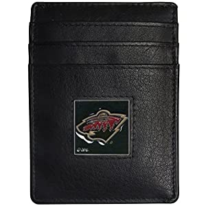 NHL Minnesota Wild Leather Money Clip/Cardholder Packaged in Gift Box, Black