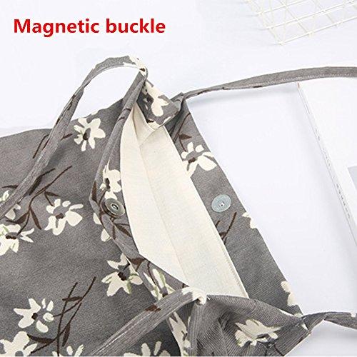 Yiuswoy Damen Frauen Multifunktions Schultertasche Stoffbeutel Cord Retro Handtasche Umhänge Tasche College Taschen - Gelbe Narzissen