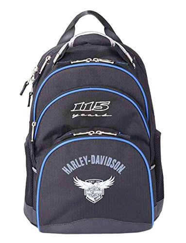 Harley Davidson Steel Cable (115th Anniversary) Backpack, Blue/Black, One Size by Harley-Davidson