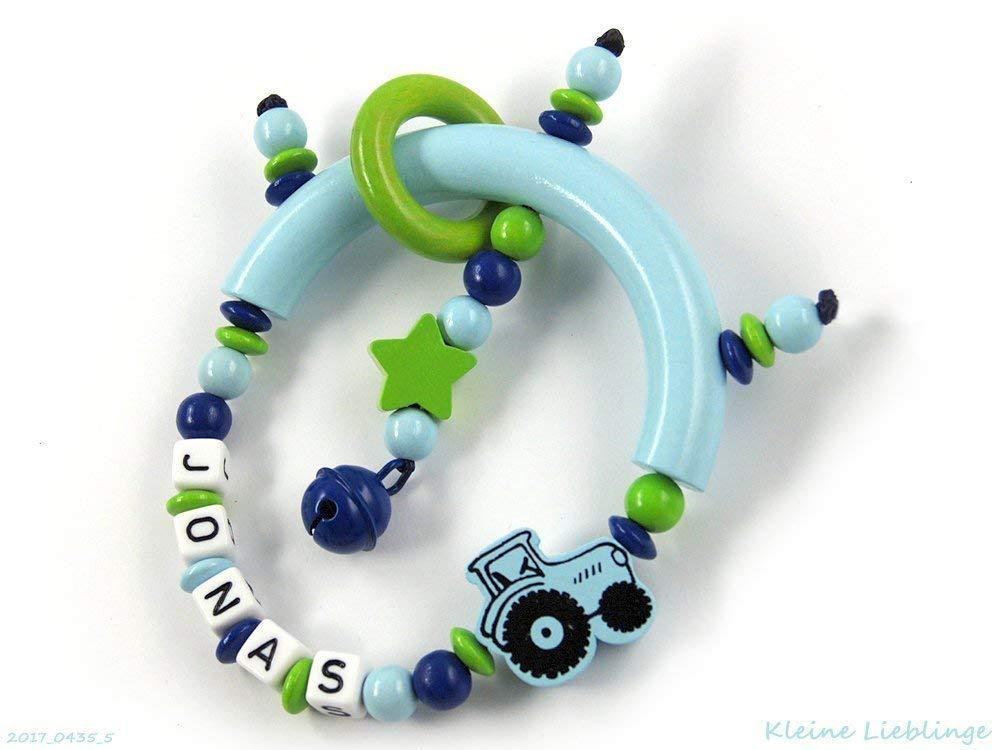 Greifling Greifring Traktor Trecker Stern mit Namen 3 - 7 Buchstaben - blau grü n dunkelblau hellblau bzw. babyblau fü r Jungen - Rassel Glö ckchen
