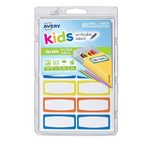 Avery 0.75 x 1.75 Inches Durable Labels for Kids Gear, Assor