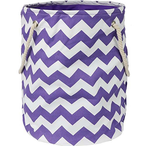 Modern Littles Standing, Folding Laundry Basket, Purple Chevron - Collapsible Bin for Toys - Bedroom Organizer - Foldable Bin with Large Capacity. Adult and Kids Kid's Room Décor by Modern Littles