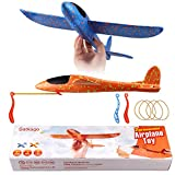 Satkago 2nd Generation Model Airplane Kits, 2Pcs 15inch Manual Flying Foam Airplanes, 2 Flight Model, 2 Ways Playing Glider Plane as Outdoor Sports Gift Kids Toys