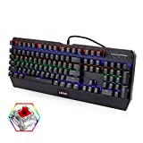 LESHP Mechanical Gaming Keyboard Red Switch with 7-Color Backlit, 10 Anti-ghosting Keys for Gaming, Industrial, Office -Black
