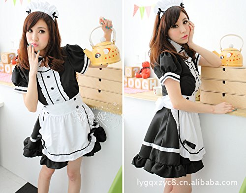 ZHFC-Mucama uniformes; la princesa tentación; uniformes; faldas, faldas, rojo, azul, negro L
