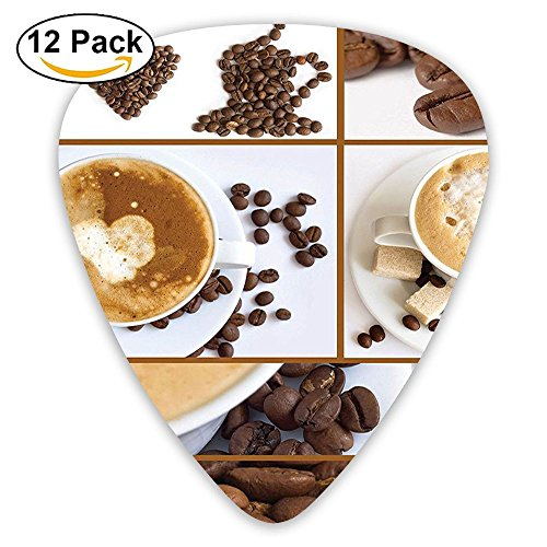 Newfood Ss Coffee Themed Collage Of Beans Mugs Hot Foamy Drink With A Heart Macro Aroma Guitar Picks 12/Pack Set