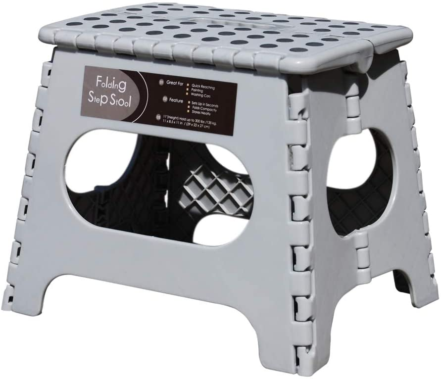 Non-Slip Folding Step Stool Gray, Sturdy Safe Enough - Holds up to 300 Lb - 11 inch Footstool for Adults or Kids, Folding Ladder Storage/Opens Easy, for Kitchen,Toilet,Camping (Light Grey, 11'')