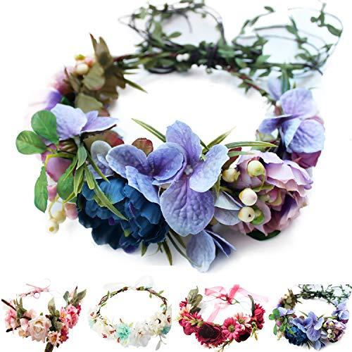 Handmade Adjustable Flower Wreath Headband Halo Floral Crown Garland Headpiece Wedding Festival Party (B1-Purple+Pink)