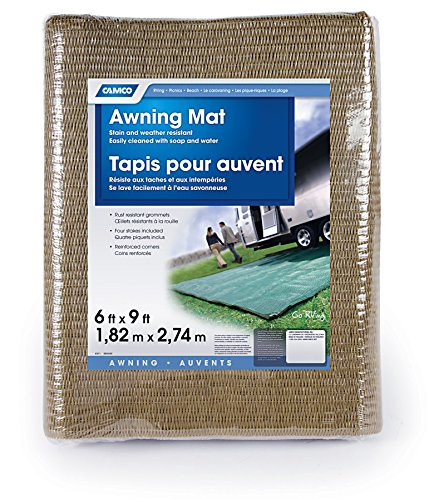 Camco Durable Reversible RV Awning Mat- Mildew and Rust Resistant Help Prevents Dirt From Being Tracked - Perfect for Beaches and Picnics 6' X 9'- Brown (42883)