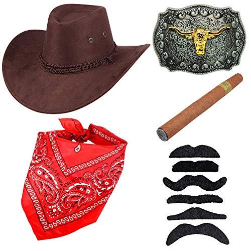 (Western Cowboy Costume Accessories - Faux Felt Cowboy Boots Hat,Golden Long Horn Bull Belt Buckle,Cowgirl Bandanna,Coffee)