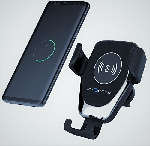 ock 2 in 1 Cell Phone Car Mount and Wireless Charger Air Vent Clamp Fast Charge For iPhone X8 & X8Plus, Samsung Galaxy S9 & S9 Plus, S8, S7 & S7 Edge, Note 8/5 ()