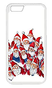 Phone Case Custom iPhone 6 4.7inch TPU Phone Case Lots Of Santas Christmas Illustration White Soft Cover Case for Apple iPhone 6 4.7inch