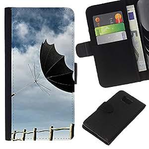 All Phone Most Case / Oferta Especial Cáscara Funda de cuero Monedero Cubierta de proteccion Caso / Wallet Case for Samsung ALPHA G850 // Design Black Umbrella